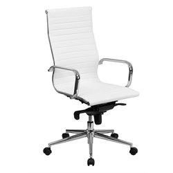 Bowery Hill High Back Ribbed Leather Office Chair in White