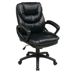 Bowery Hill Faux Leather Managers Office Chair in Black