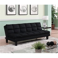 Bowery Hill Pillow-Top Convertible Futon Sofa in Black