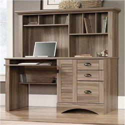 Bowery Hill Home Office Desk with Hutch in Salt Oak