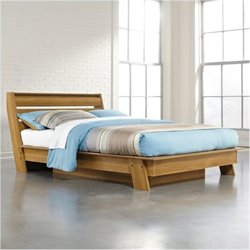 Bowery Hill Queen Platform Bed in Pale Oak