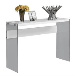 Bowery Hill Tempered Glass Console Table in Glossy White