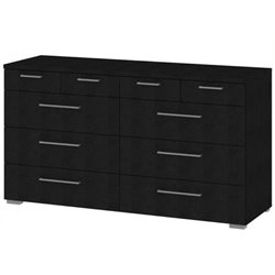 Bowery Hill 10 Drawer Dresser in Black