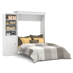 Bowery Hill 92'' Queen Wall Bed with Door Storage Unit in White