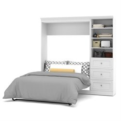 Bowery Hill 84'' Full Wall Bed with 3 Drawer Storage in White