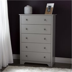 Bowery Hill 5 Drawer Chest in Soft Gray