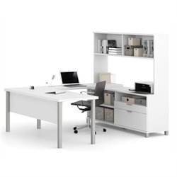Bowery Hill U Shaped Computer Desk with Hutch in White