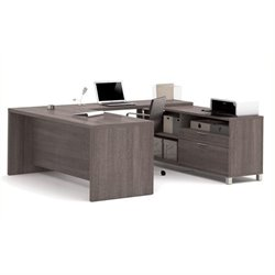 Bowery Hill U-Shaped Computer Desk in Bark Gray