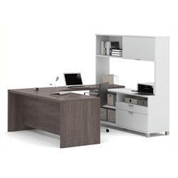 Bowery Hill U-Desk with Hutch in White and Bark Gray
