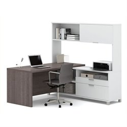 Bowery Hill L-Desk with Hutch in White and Bark Gray