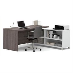 Bowery Hill L-Desk in White and Bark Gray