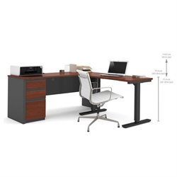 Bowery Hill L-Shaped Desk in Bordeaux and Graphite