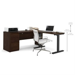 Bowery Hill L-Shaped Desk Table in Chocolate