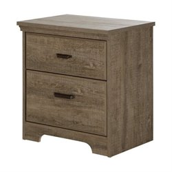Bowery Hill 2 Drawer Nightstand in Weathered Oak