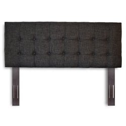 Bowery Hill Full Queen Upholstered Headboard in Carbon Gray