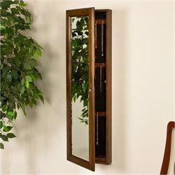 Bowery Hill Wall Mount Jewelry Mirror in Warm Brown Walnut
