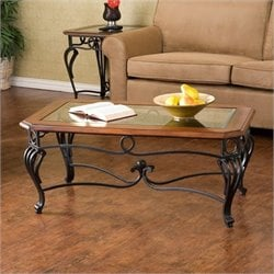 Bowery Hill Prentice Coffee Table in Dark Cherry