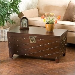 Bowery Hill Nailhead Trunk Coffee Table in Espresso