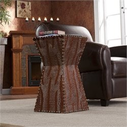 Bowery Hill Faux Leather Accent Table in Dark Brown