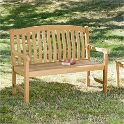 Bowery Hill Patio Bench in Light Brown Teakwood Stain