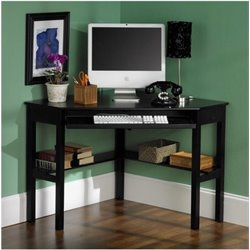 Bowery Hill Corner Computer Desk in Painted Black
