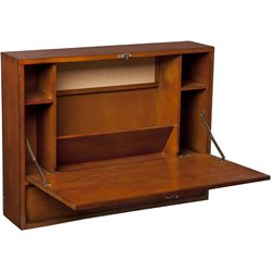 Bowery Hill Wall Mount Laptop Desk in Brown Mahogany