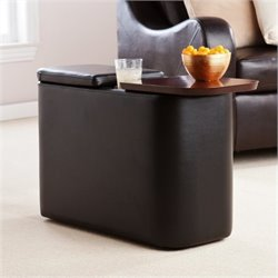 Bowery Hill Entertainment Companion Table in Black
