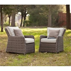 Bowery Hill Patio Chair in Gray and Beige (Set of 2)