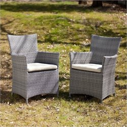 Bowery Hill Patio Easy Chair in Gray (Set of 2)