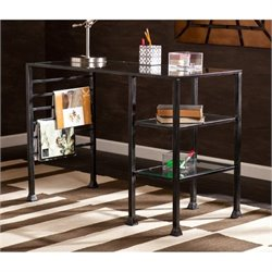 Bowery Hill Glass Writing Desk in Distressed Black