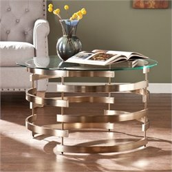Bowery Hill Round Coffee Table in Champagne