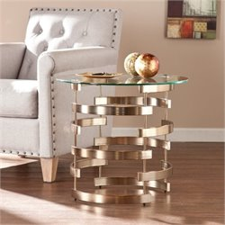 Bowery Hill Round End Table in Champagne