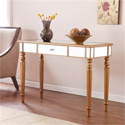 Bowery Hill Mirrored Console Table in Champagne Gold