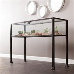 Bowery Hill Display Console Table in Black and Silver