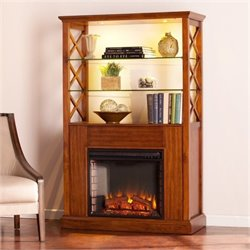 Bowery Hill Curio with Electric Fireplace in Oak