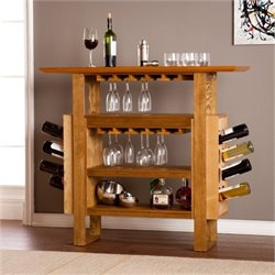 Bowery Hill Console Wine Rack in Weathered Oak
