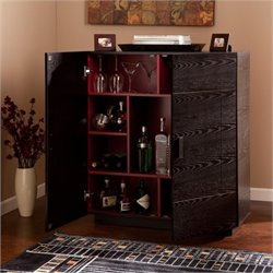 Bowery Hill Home Bar Cabinet in Ebony and Red
