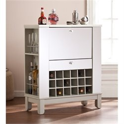 Bowery Hill Mirrored Home Bar Cabinet in Silver