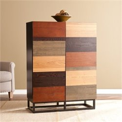 Bowery Hill Bar Cabinet in Multi Tonal Wood and Black