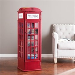 Bowery Hill Phone Booth Storage Cabinet in Red
