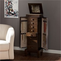 Bowery Hill Jewelry Armoire in Gray Brown Oak