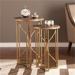 Bowery Hill 2 Piece Accent Nesting Table Set in Gold