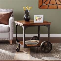 Bowery Hill Industrial Accent Table in Oak