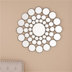 Bowery Hill Circles Accent Mirror in Silver