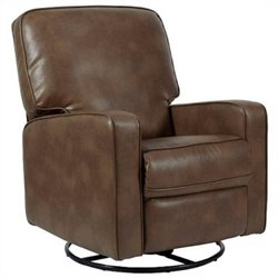 Bowery Hill Fabric Swivel Glider Recliner in Chestnut