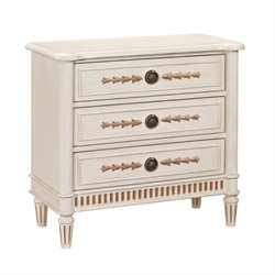 Bowery Hill 3 Drawer Fluted Chest in Soft White