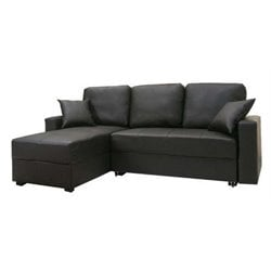 MER-1176 Faux Leather Convertible Storage Sectional