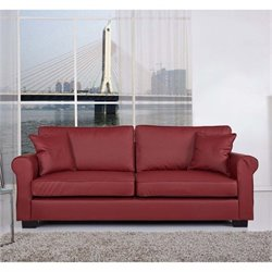 Bowery Hill Faux Leather Sofa in Wine Red