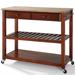 Bowery Hill Wood Top Kitchen Cart Island in Classic Cherry