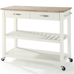 Bowery Hill Wood Top Kitchen Cart Island in White